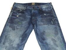 NWT PRPS Goods Mens 31Wx34L Barracuda Blue Distressed w/Spots Jean E75P114X $400