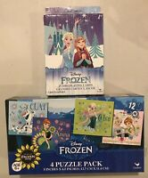 Disney Frozen Jumbo Playing Cards 4+ & Olaf Anna Elsa Puzzle 4 Pack Ages 6+ NEW