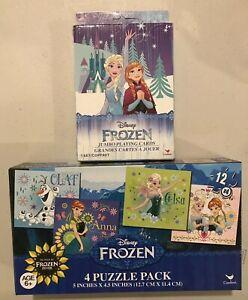 Disney Frozen Jumbo Playing Cards 4+ & Olaf Anna Elsa Puzzle 4 Pk Age 6+ Bundle