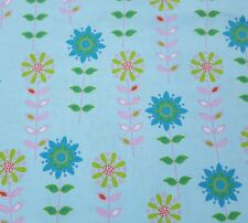 Forest Friends BTY Anton & ink Camelot Cottons Teal Lime Pink Floral on Blue