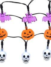 3 Pks Of Halloween 10-Light Strands -Battery Powered- Bats Pumpkins & Skulls