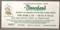 1970 DISNEYLAND PRIVATE PARTY TICKET Transportation Club Southern California