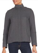 NWT $625 Sz. 0 VINCE Twill Wool Jacket Coat Medium Heather Gray