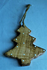 New Sass & Belle Verona Christmas Tree Shaped Brown Wood Hanging Decoration Xmas