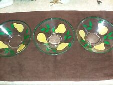 3 Collectible Clear Glass Bowl with Hand-painted Pears w/ leaves