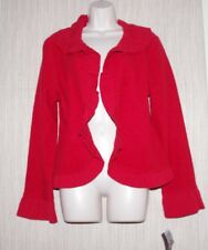 Colour Works Red 100% Wool Sweater Women Ruffle Collared Cardigan Size:L