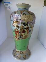 """Vintage Large 15.5"""" Oriental Asian Geisha Lord Porcelain vase trimed in gold"""