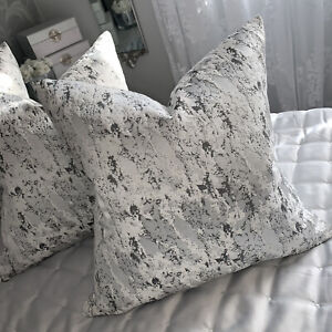 "Luxury Cushion Cover 18"" Mellow Designer Fabric Marble Effect Grey Silver"