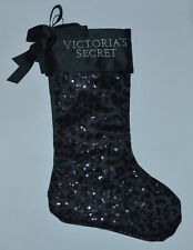 VICTORIA'S SECRET BLACK SEQUIN CHEETAH PRINT STOCKING HOLIDAY SILKY RIBBON SHINY