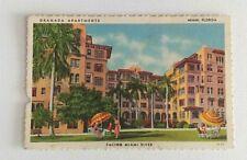 Granada Apartments Miami Florida Linen Postcard Curt Teich 4th Street