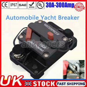 30A-300Amp Universal Auto Circuit Breaker Audio Fuse Holder Switch for Car Yacht
