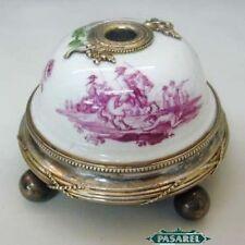 French Risler & Carre Silver Porcelain Desk Bell Ca1900
