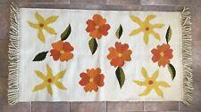 "Vintage 70s Floral Flower Retro Mod Wool Rug Yellow Orange White Fringe 34 x 67"""