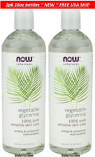2pk NOW 100% Pure Vegetable Glycerine Oil Versatile Skin Care USA Made 16oz each