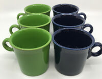 Lot of 6 Fiesta Fiestaware Java Mugs Coffee Cups 3 Blue & 3 Green Color Set EUC