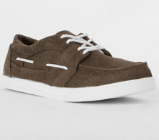 NEW DRAVEN CHOCOLATE BROWN DEMPSEY CANVAS LACE UP BOAT SHOES SIZE 12 BUCKLE