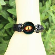 mm Glass Cabochon Leather Charm Bracelet dino eye Dragon Black Bangle 20