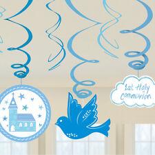 1st Holy Communion Celebration Hanging Swirls Blue Communion Party Decorations