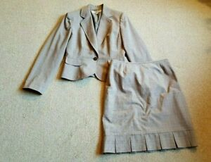 Womens Skirt Suit-TAHARI-gray/pink/off-white plaid rayon stretch lined ls-6P