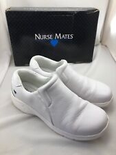 Nurse Mates Women's Leather Nursing Shoes Slip On Dove White Size 8.5 M w/ Box