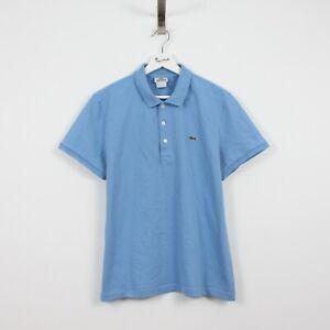 AD20 Vtg Lacoste Polo Mens Light Blue Short Sleeve Shirt Coton Elastane Size 5 L