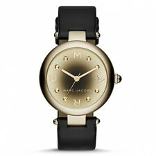 Marc by Marc Jacobs Dotty Women Gold Gradient Tone Black Leather Watch MJ1465