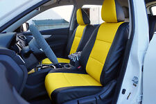 BLACK/YELLOW LEATHER-LIKE CUSTOM MADE FRONT SEAT COVERS FOR NISSAN ROGUE 2013-17