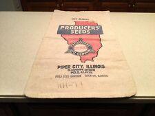 Vintage Advertising Cloth Bag Producers' Seeds Rare Illinois One Bushel Empty