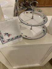 Lenox Poppies On Blue 2-Tiered Serving Tray EUC And Bonus Package Of Napkins