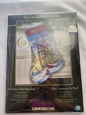 Dimensions Gold Collection Counted Cross Stitch Kit Christmas Sled Stocking New