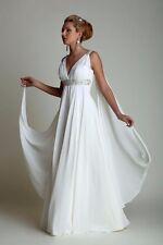 Greek Wedding Dresses Watteau Train V-neck Chiffon Beach Grecian Bridal Gown
