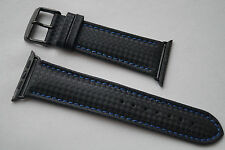 BLACK CARBON LEATHER BAND STRAP REPLACEMENT FOR APPLE WATCH 42MM Series 3