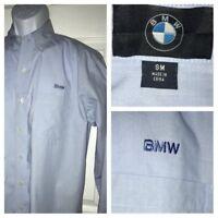 BMW Logo Blue Button Down Dress Shirt Men L/S 100% Cotton EUC Small