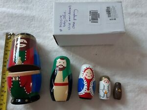 JOHN LEWIS  Kids Nativity Russian Dolls Christmas Toys Wooden ** defects** #5