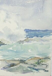 WAVES HITTING ROCKS ORIGINAL WATERCOLOR SEASCAPE PAINTING UNSIGNED