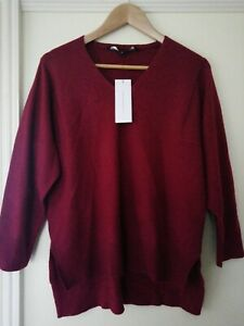FRENCH CONNECTION Cherry / Red V-Neck Jumper Size Small 12/14 NEW WITH TAGS