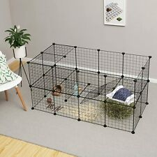 Songmics Pet Playpen, Metal Wire Apartment-Style Two-Story Gerbil, Rabbit, Dog,