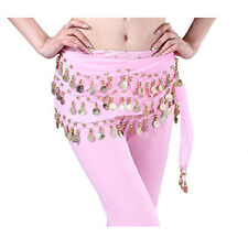 Belly Dance Dancing Hip Skirt Scarf Wrap Belt costume with 3 Rows Gold Coins USA