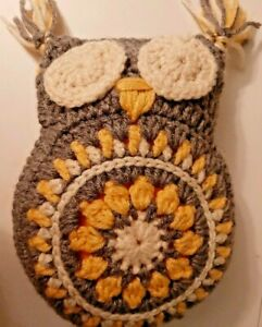 Hand Made Crocheted Gray Yellow Granny Design Stuffed Owl