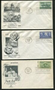 1949 United States Commemoratives First Day Cover Set - Stamps #981-986