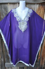 ART TO WEAR FLOWING PONCHO STYLE HAND BEADED TUNIC IN PURPLE AND SILVER, MED+!