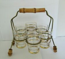 6 Vintage Shot Glasses with Gilt Decoration in a Stand