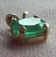 Natural Emerald 14k Solid Yellow Gold Oval Shape Pendant skaisNOV17