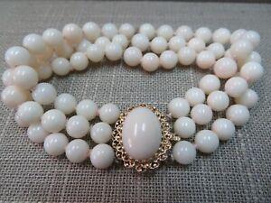 Vtg 14K Y. Gold Coral Clasp Natural Angel Skin Coral Bracelet / Triple Strand