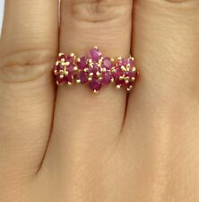 14k Solid Yellow Gold Cluster Three Flowers Ring Natural Ruby 3.5TCW, Sz8.75