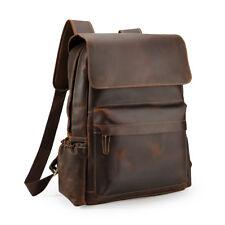 Mens Real leather 15.6''Laptop Notebook Backpack School Bag Travel Shoulder Bag