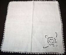 ANTIQUE DINNER NAPKINS 12 FANCY NEEDLELACE WITH CUTWORK + EMBROIDERY FILET TRIM