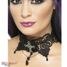FANCY DRESS COSTUME # HALLOWEEN BLACK GOTHIC LACE CHOKER WITH CROSS