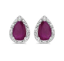 14K Genuine Natural Ruby and Diamond 1.52ctw White Gold Earrings