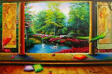 "ORLANDO RAFAEL QUEVEDO ""PARADISE"" Hand signed Giclee on Canvas"